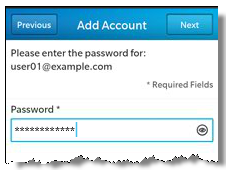 Blackberry add mail account password screenshot