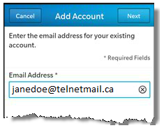 Blackberry add mail account screenshot