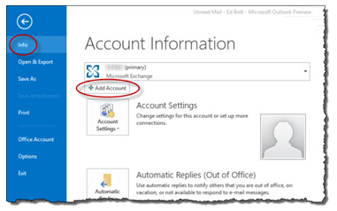 Windows Outlook 2013 add account screenshot