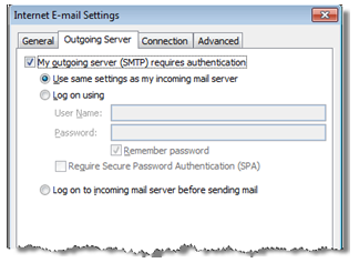 Windows Outlook 2013 internet email settings screenshot